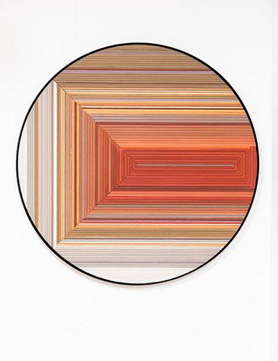 Abstract painting on wood created by Belgian artist Hélène Dawans.Since 2011, the painter explores painting onwooden panels previously used by carpenters. The surface is covered witherandom and straight grooves which give a sense of depth in the work of theartist. Hélène Dawans, who is fascinated by colors, applies multiple layers ofpaint, pigments and natural stone powder. The combination of relief and colorlayers gives the work a majestic effect. Alternating the use of hot and coldmaterial, the artist creates an unusual dynamic in her compositions.