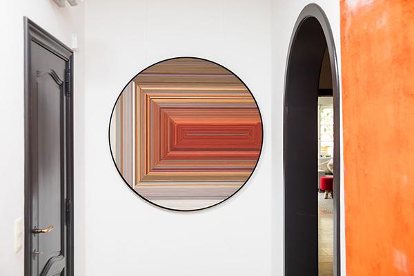 alexia Werrie Gallery Helene Dawans abstract painting on wood in orange tones