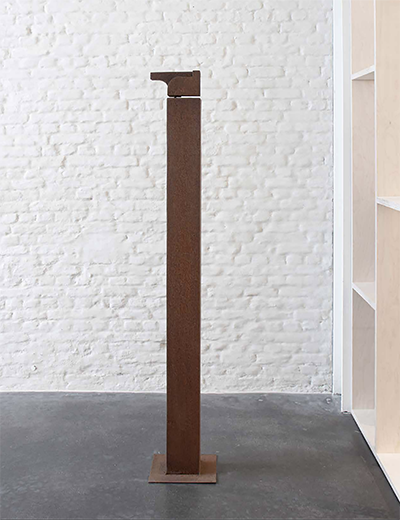 Helen Vergouwen's `sculptures refer to maps of houses, cities or places where she has been. These are imagined memories solidified in the sturdy material that the sculptures are made of: wood, bronze and corten steel. In collaboration with Modern Shapes Gallery.