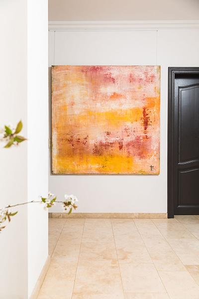 catherine van pottelsberghe de la potterie alexia werrie gallery abstract art pink yellow white 150x150cm