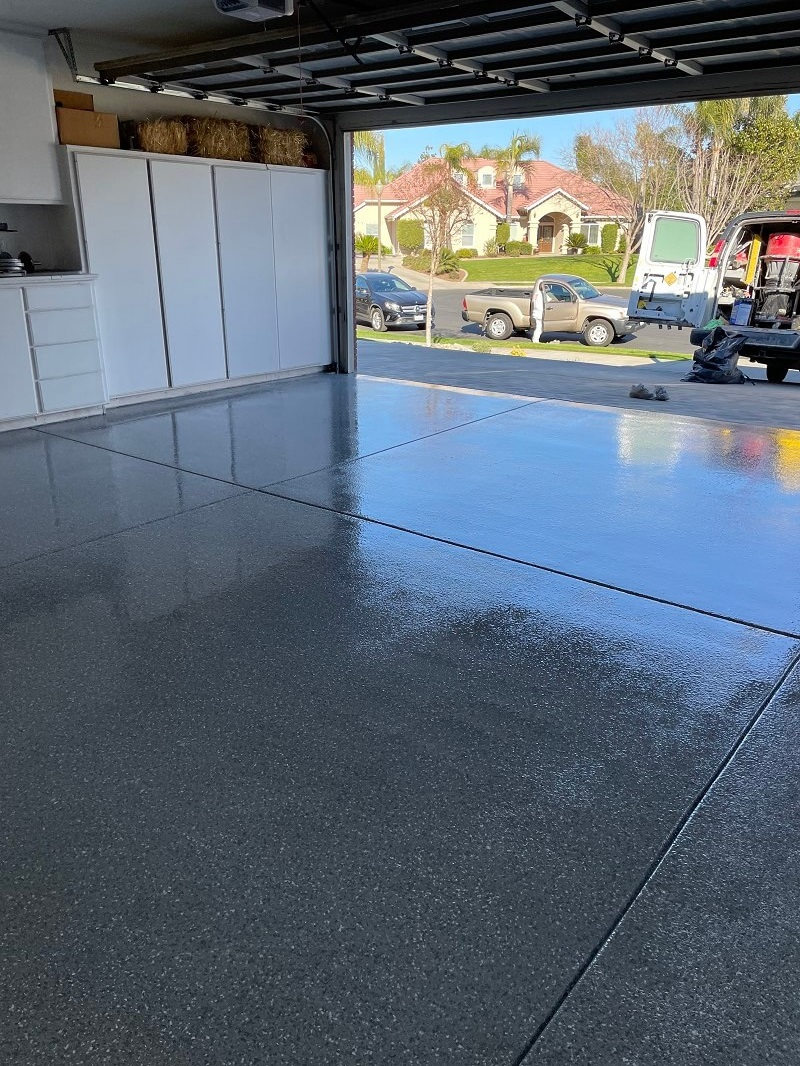 Double garage epoxy concrete floor coating Bakersfield California