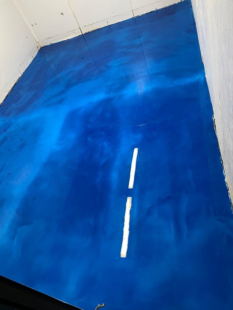 Blue Metallic Flooring in Bakersfield California