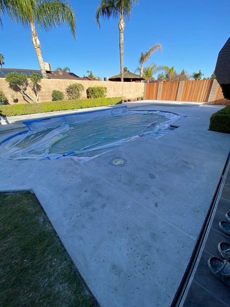 Concrete grinding completed around pool deck