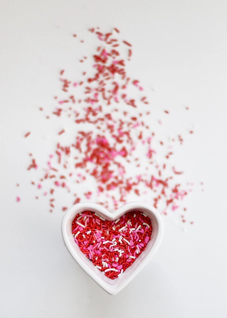 Heart love sprinkles. Photo by Sixteen Miles Out on Unsplash.