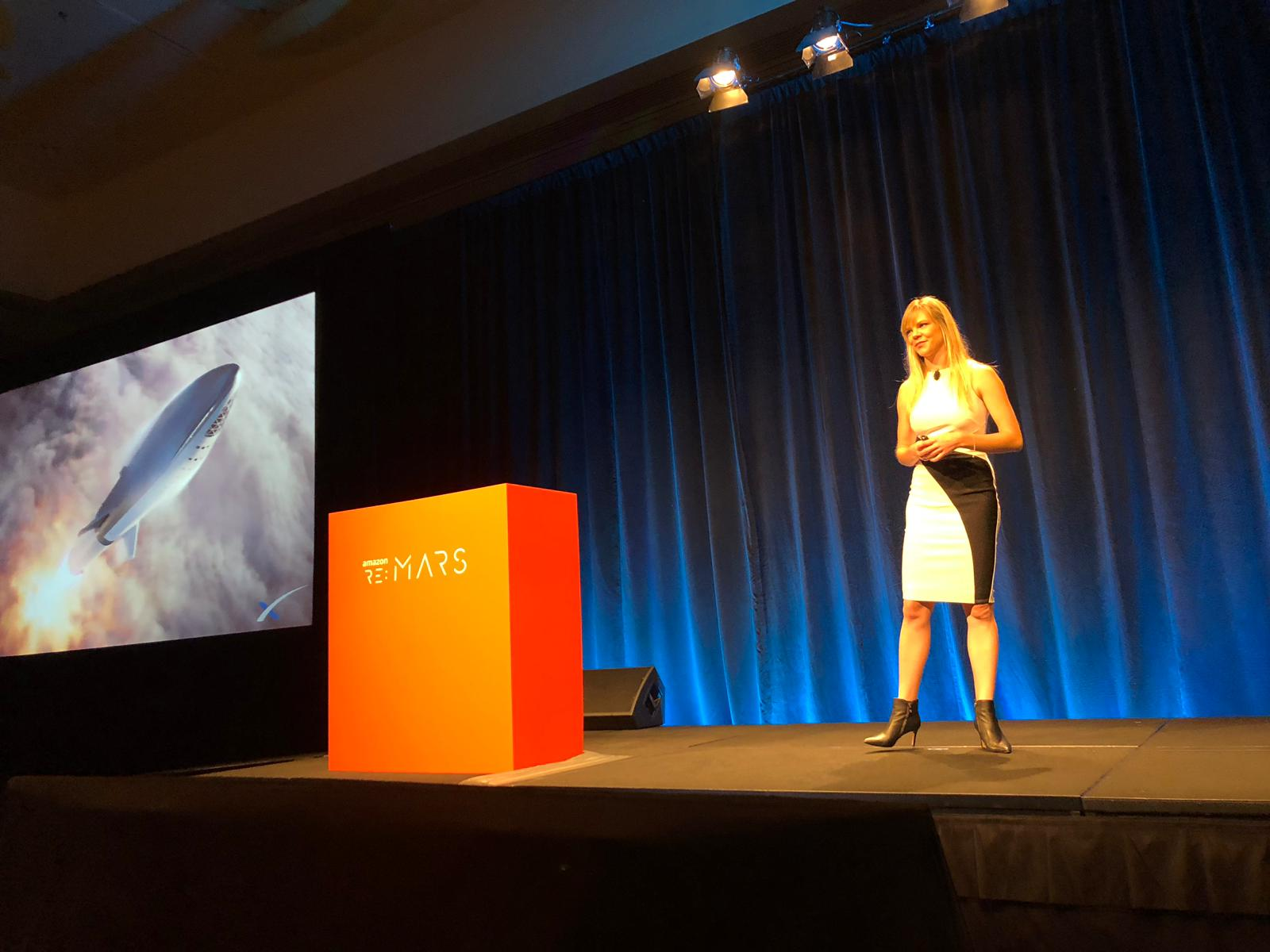 Natalie speaking at Amazon re:MARS