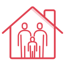 Icon of house with family inside