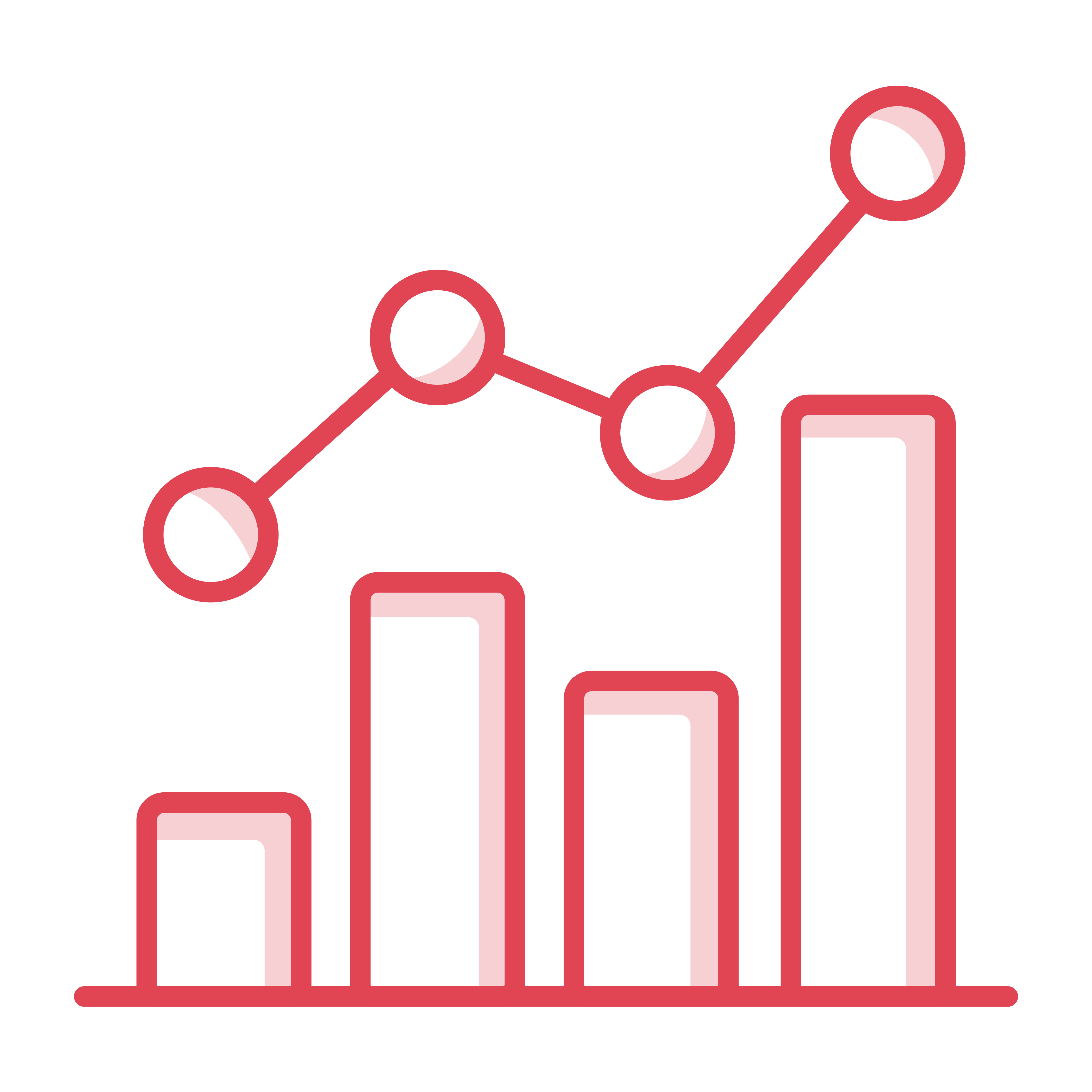 Icon of an analytical bar chart with line
