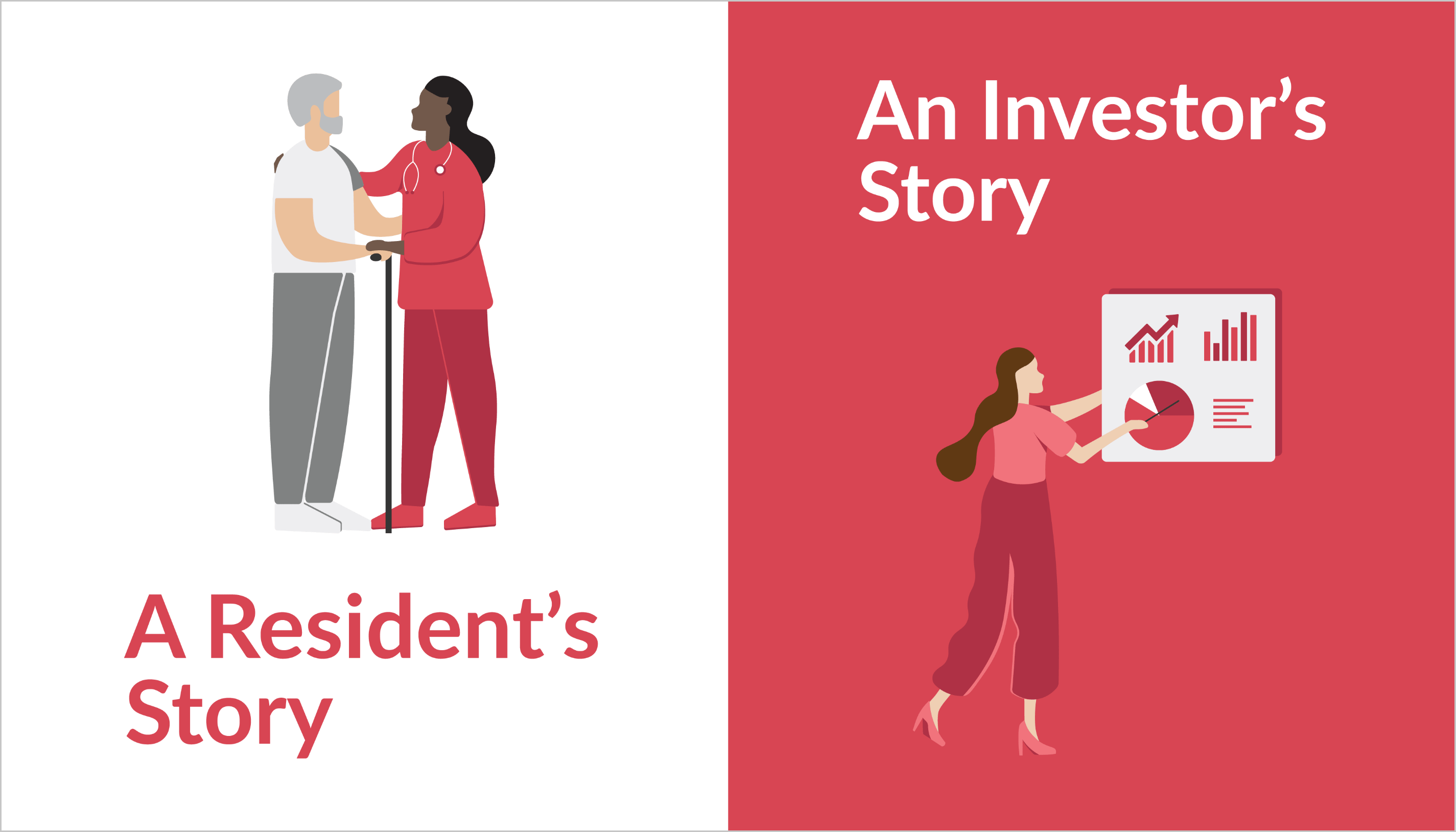 Animated image showing a residents story and an investors story together
