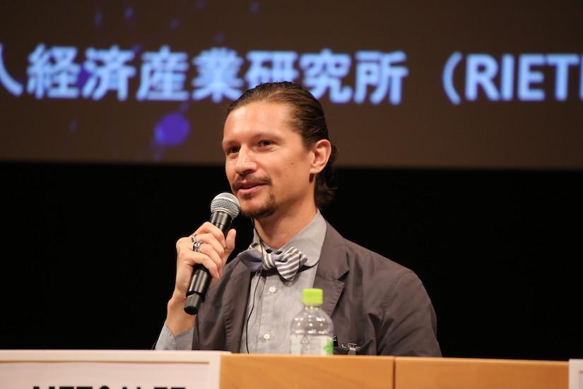 William Metcalfe speaking at the RIETI Next Blockchain symposium panel