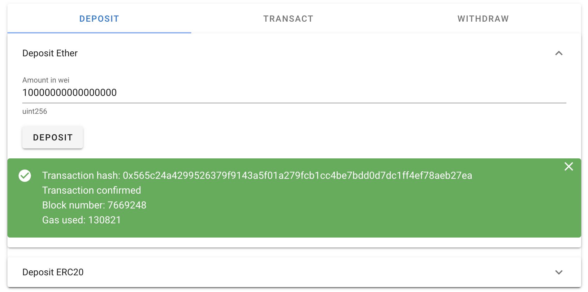 Ether deposit transaction has been confirmed