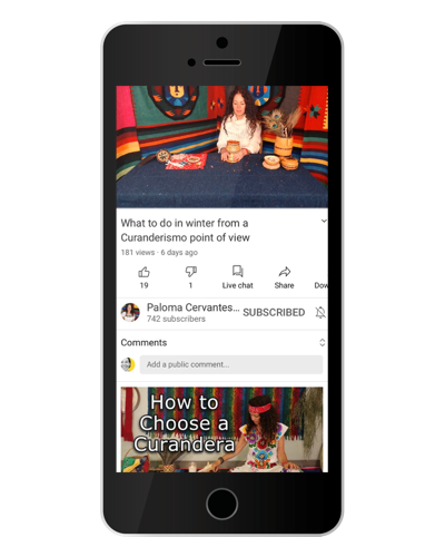 iPhone mock up with an image of Paloma Cervantes's channel