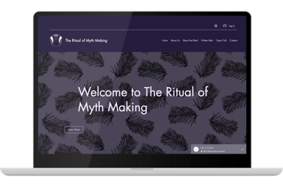 Mock up of a laptop computer showing The Ritual of Mythmaking Website