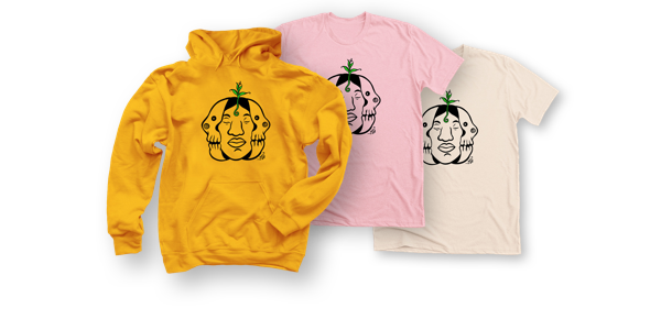 Image of tees and hoodies with John Jairo Valencia's art on the front of each