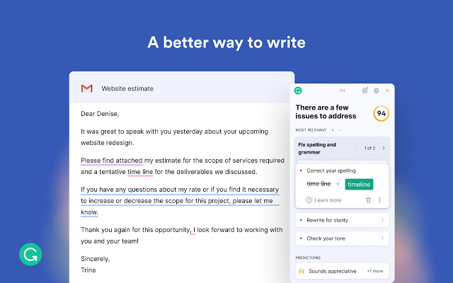 Credits: Grammarly Chrome Extension Page: