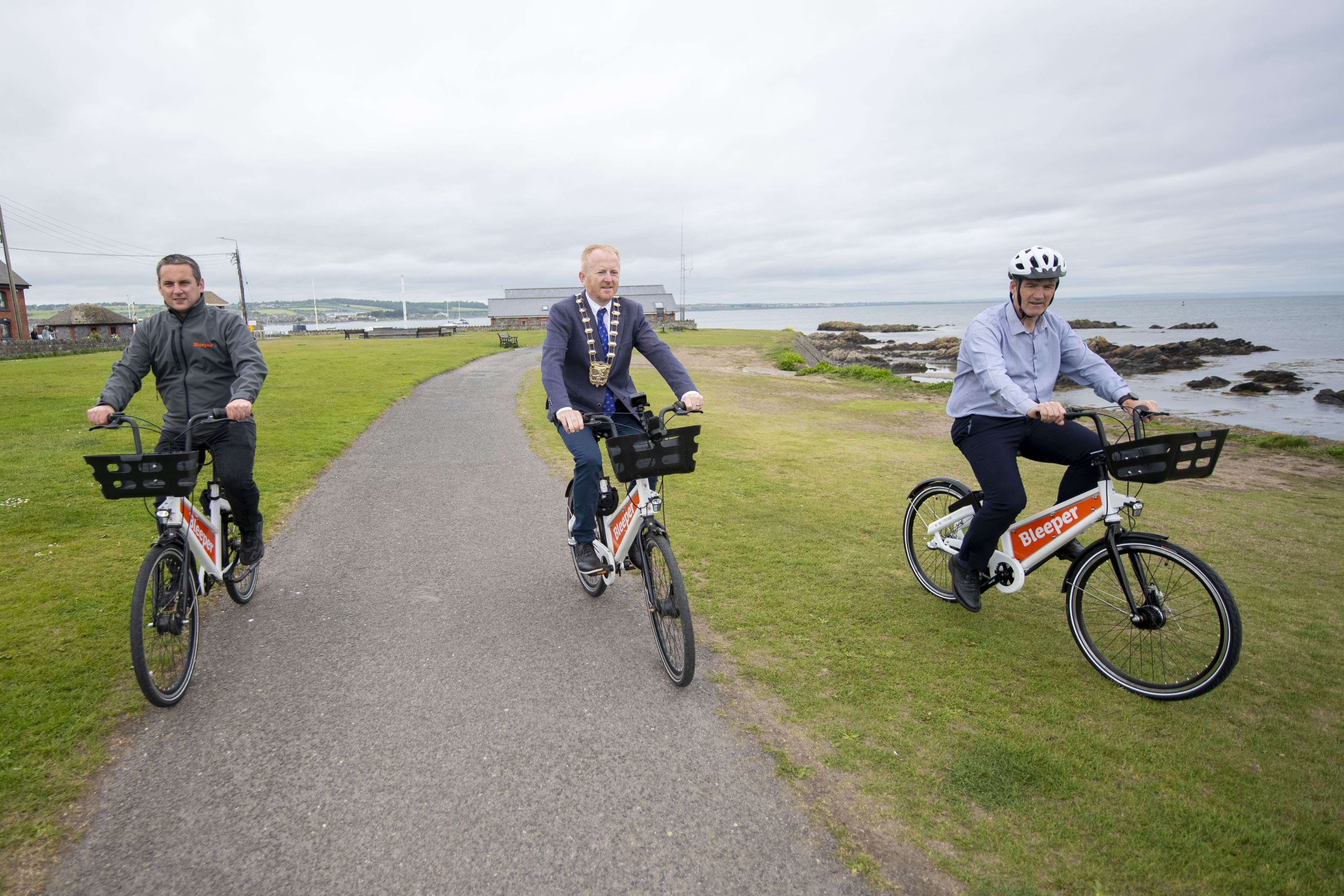 Bleeper expansion into North Fingal with Fingal Mayor Cllr David Healy and David Storey, Director of Services for Environment, Climate Action and Active Travel at Fingal County Council