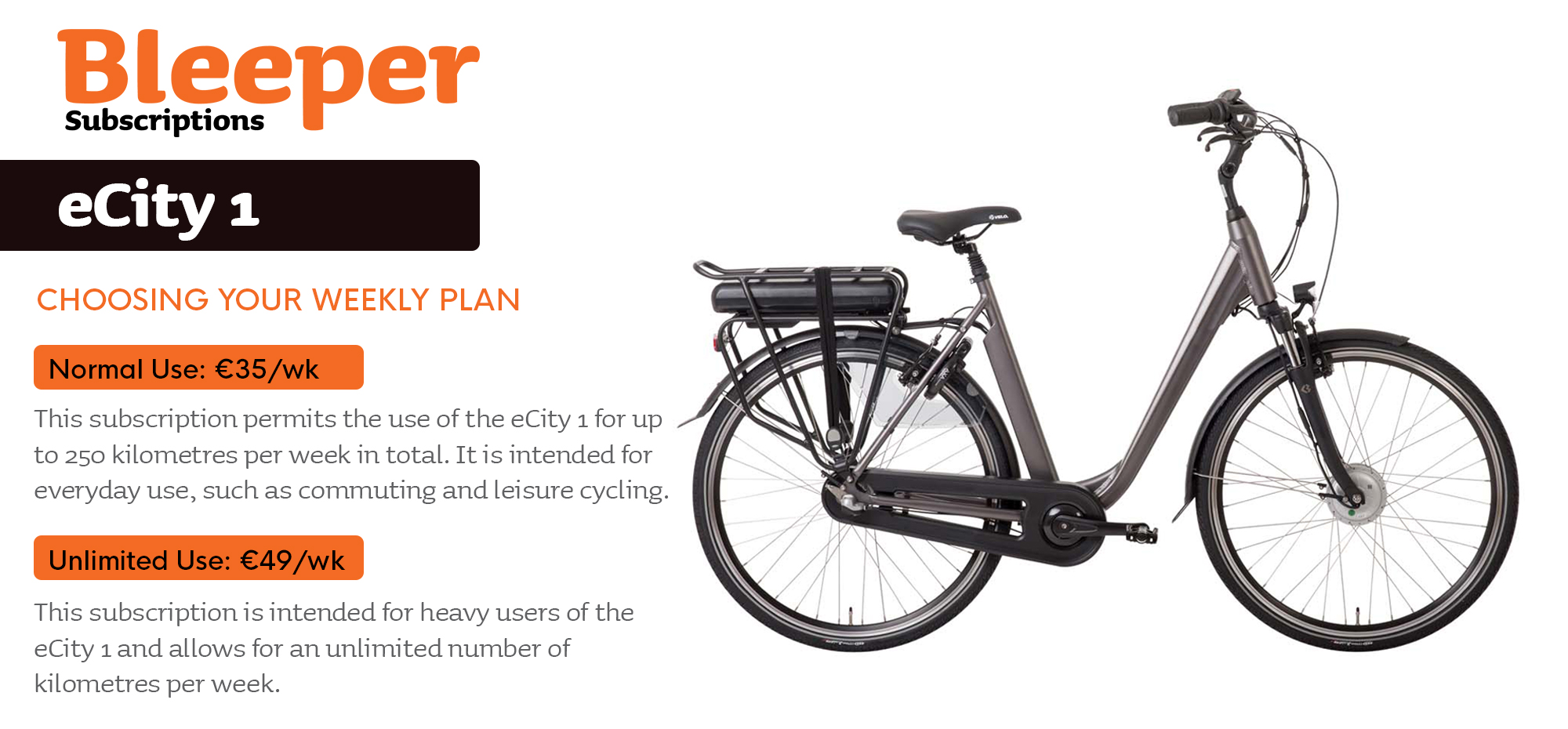 Information graphic showing the Bleeper eCity 1 electric bike and the various rental options available for it.
