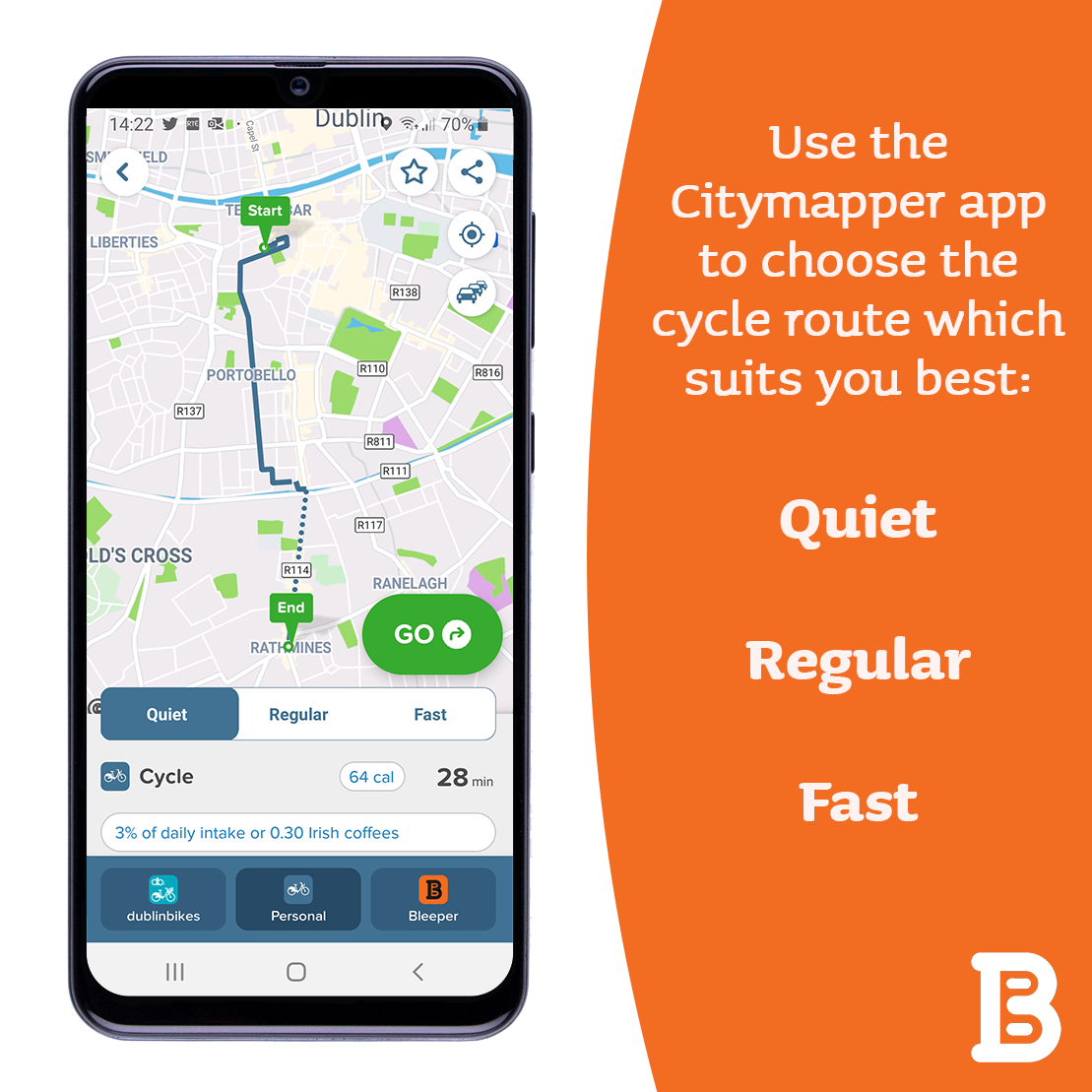 A screenshot of the Citymapper app shows a map of Dublin and the directions for a journey by bicycle. The app also displays the Bleeper icon which enables users to find nearby Bleeper bikes to hire.