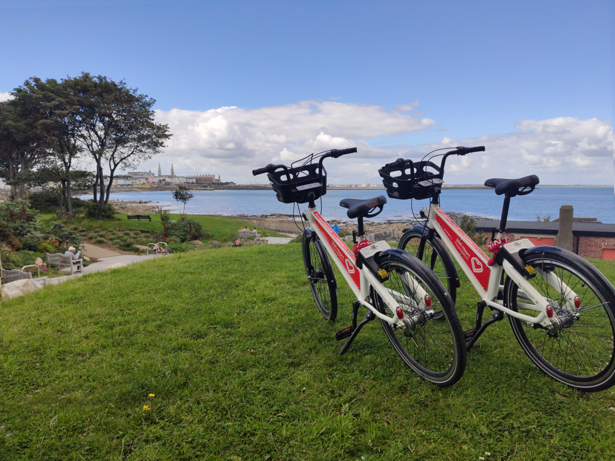 Bleeper public rental bikes are pictured in Dublin with Irish Heart Foundation branding on the bikes.