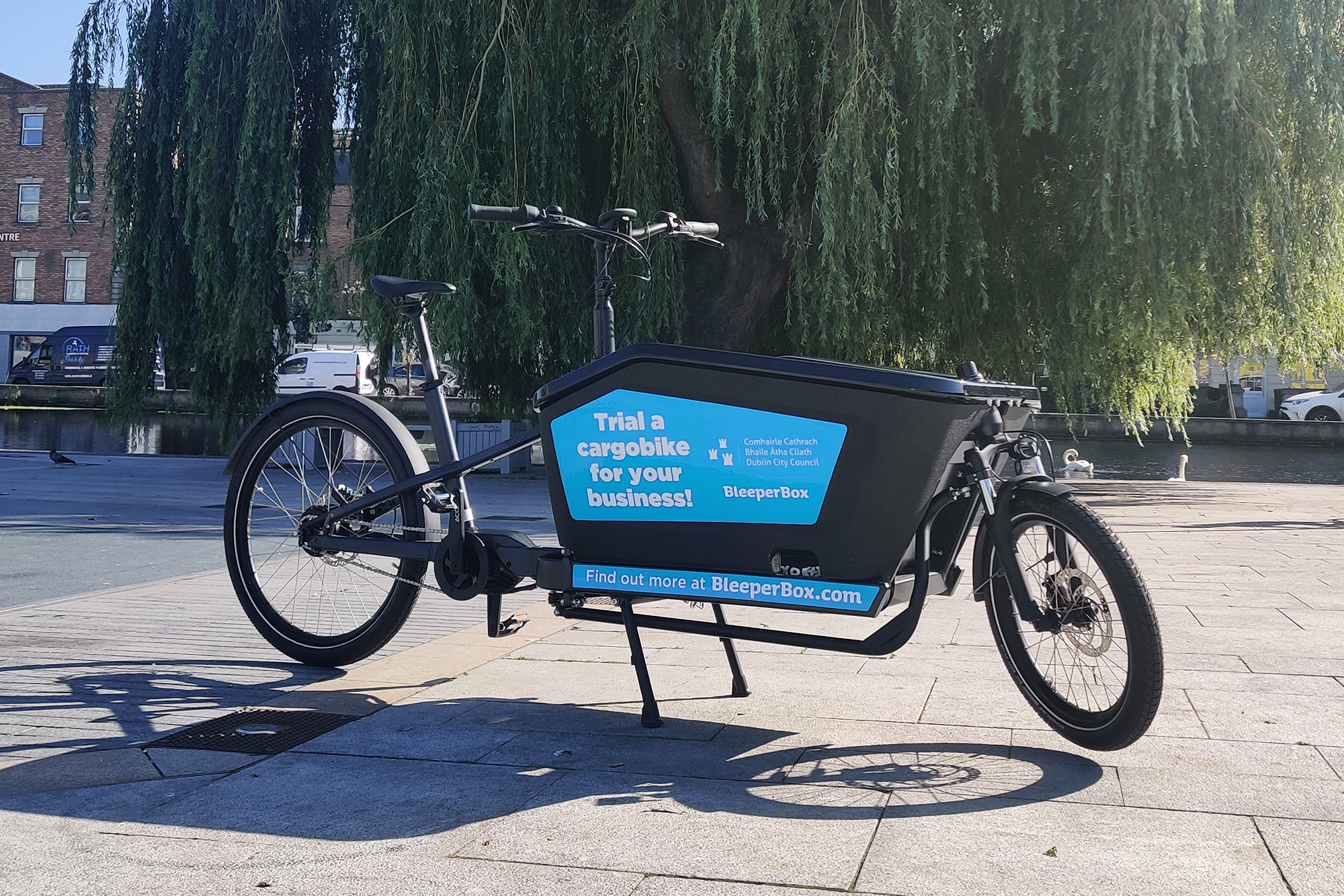 A BleeperBox cargobike which will be used in the Dublin City Council pilot scheme is pictured parked in Portobello Square in Dublin 2. These cargobikes will be hired to local businesses by bike sharing operator Bleeper.