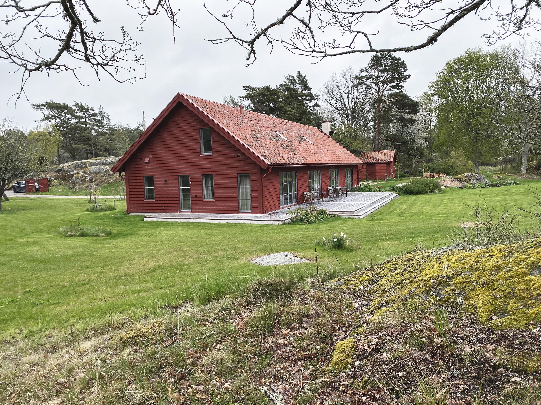 Villa, Nyproduktion, Lösvirke, Lertegel, Skorsten, Organowood, Altan