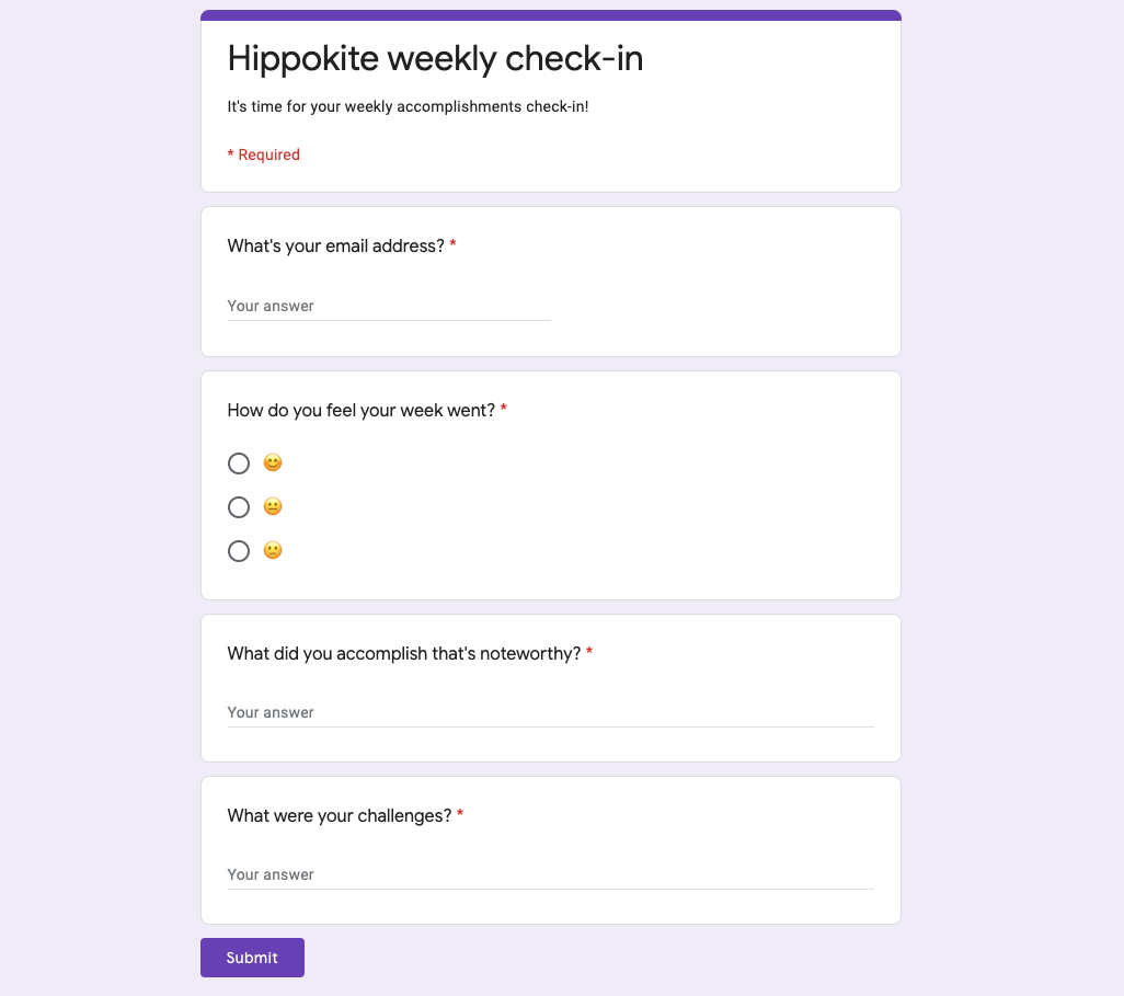 An image of the Hippokite weekly check-in survey