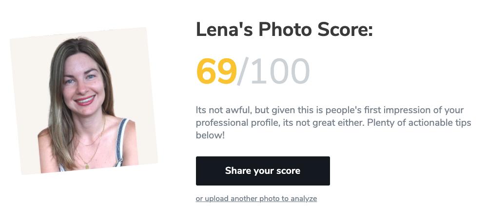 Lena's LinkedIn profile photo score on Snapper photo analyzer tool