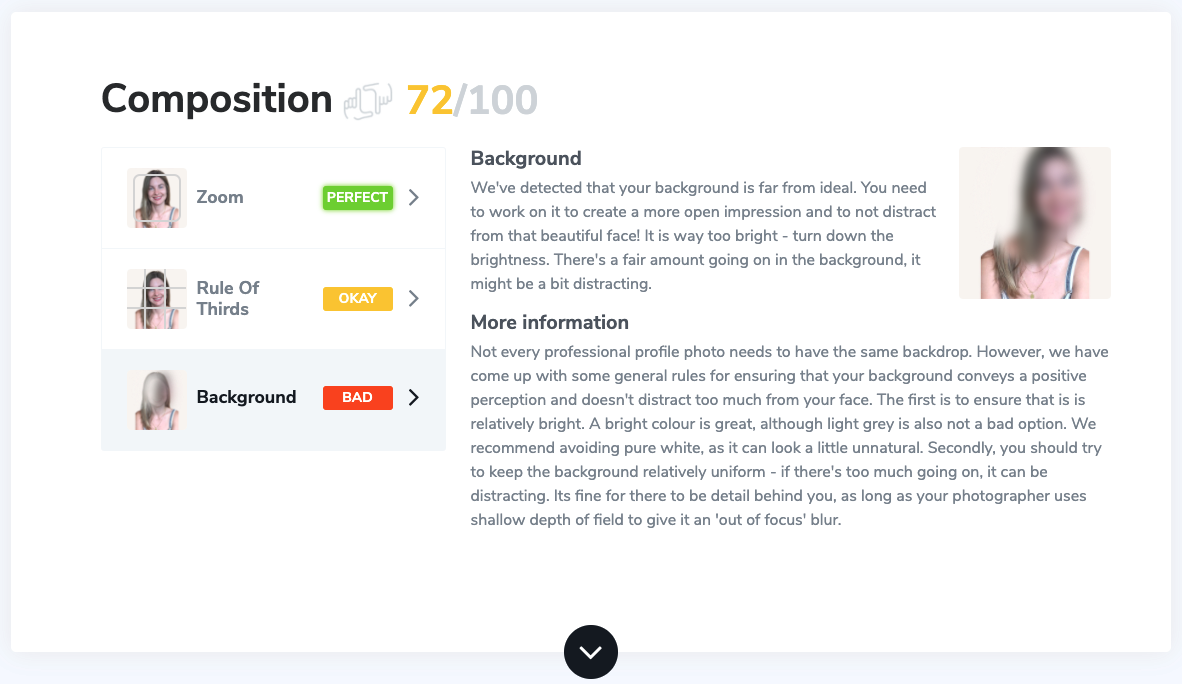 Lena Sesardic LinkedIn profile photo analysis in Snapper photo analyzer tool