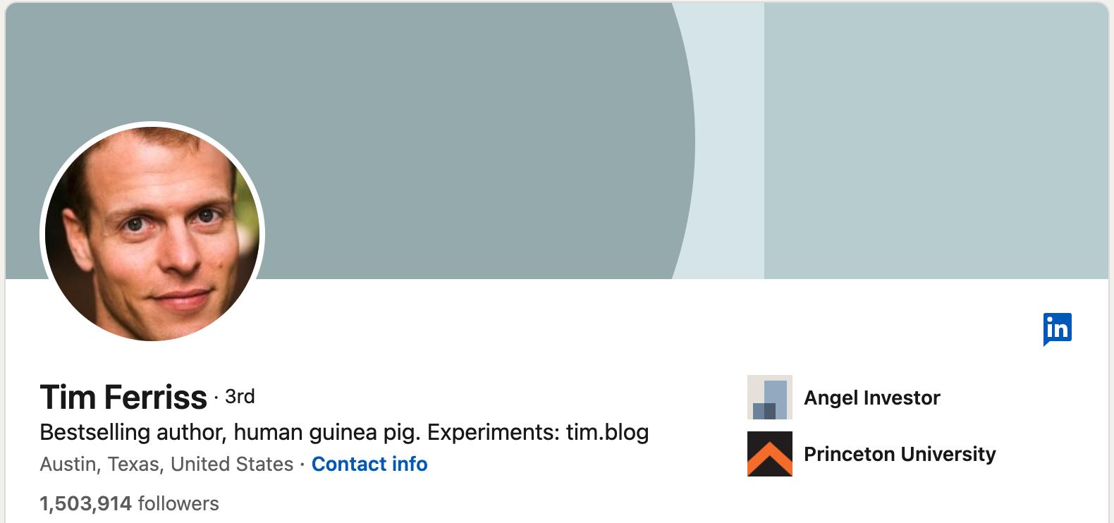 Tim Ferriss' LinkedIn profile