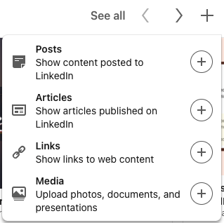 LinkedIn profile Featured section options