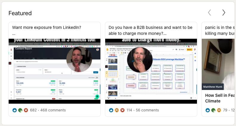 Matthew Hunt's LinkedIn profile Featured section