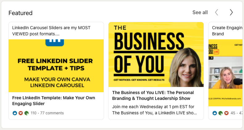 Michelle Griffin's LinkedIn profile Featured section
