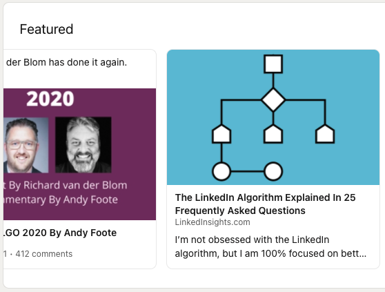 Andy Foote's LinkedIn profile Featured section