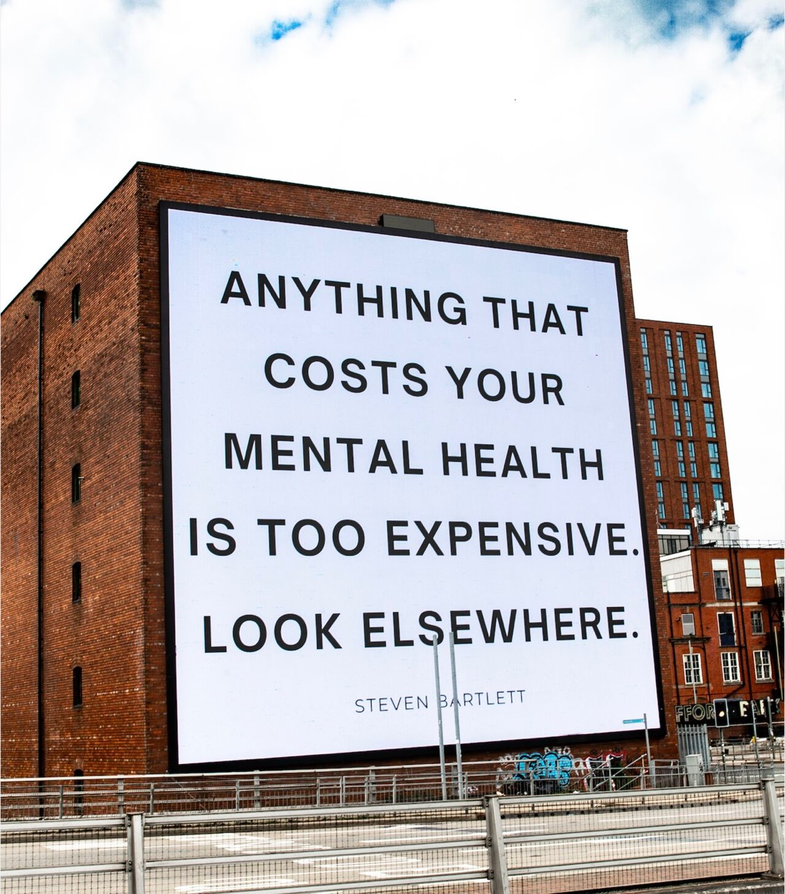 Billboard with motivational message about mental health
