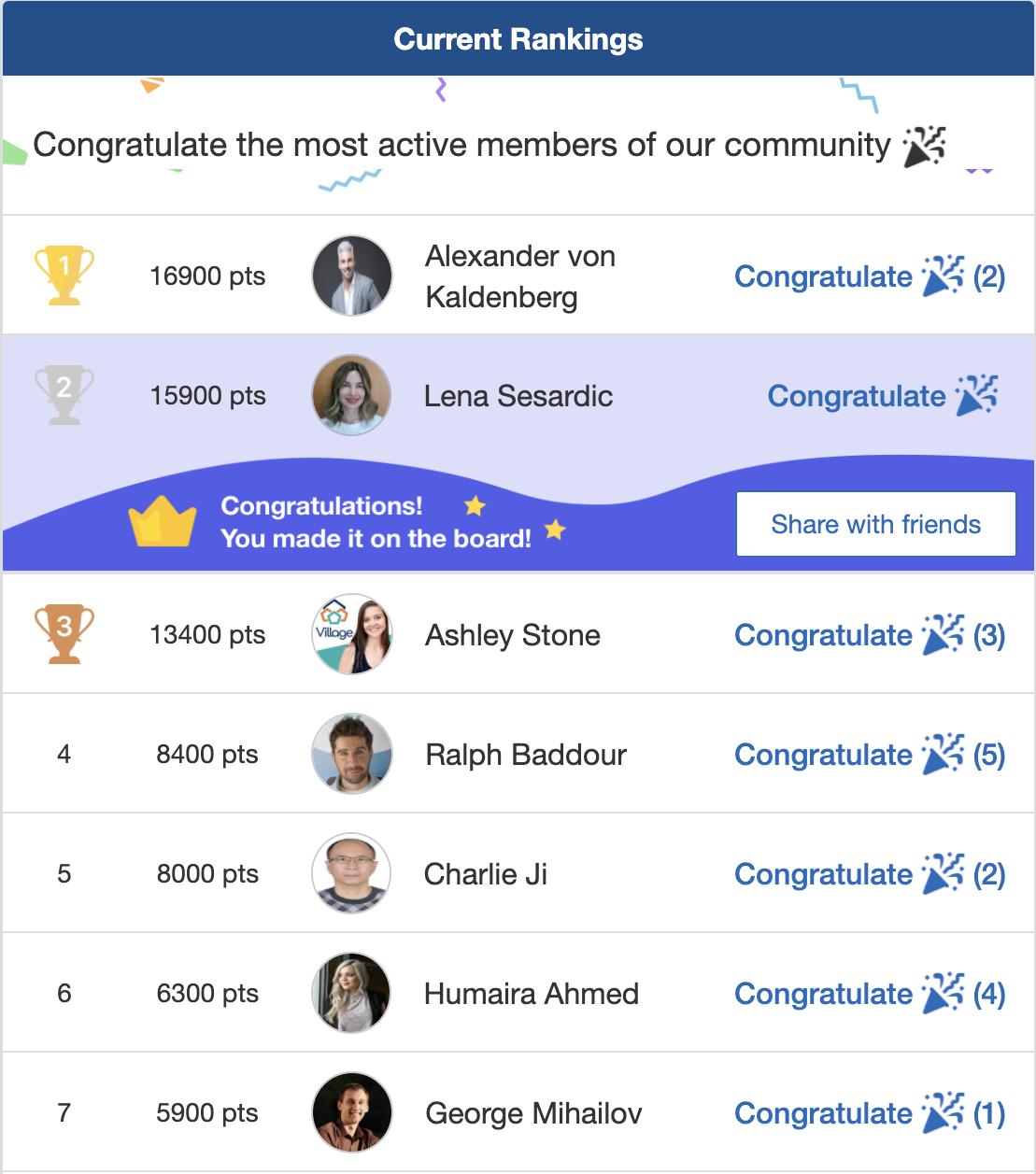 Screenshot of leaderboard in conference app