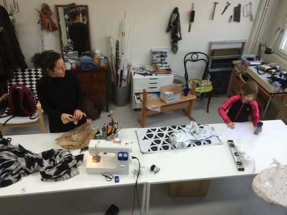 Textile designer elsa chartin teaching in her workshop.