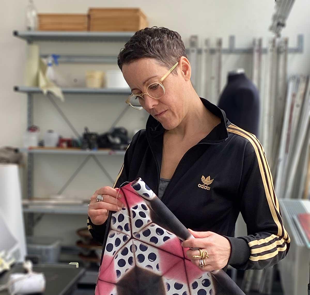 Textile artist Elsa Chartin preparing a fabric