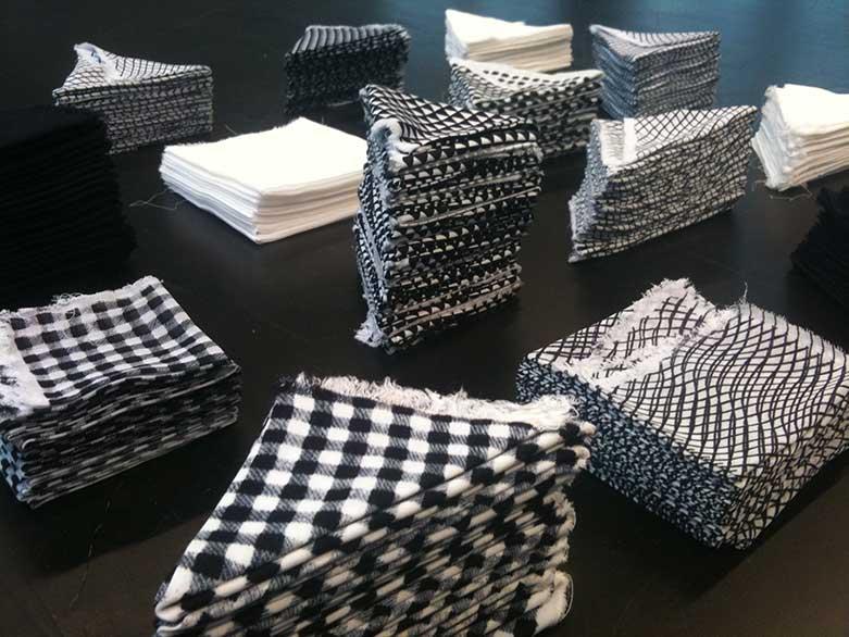 folded printed fabrics by textile artist Elsa Chartin