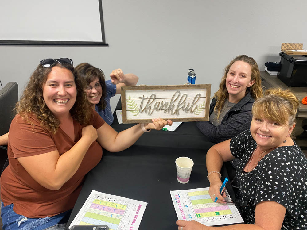 group of ladies playing bunco
