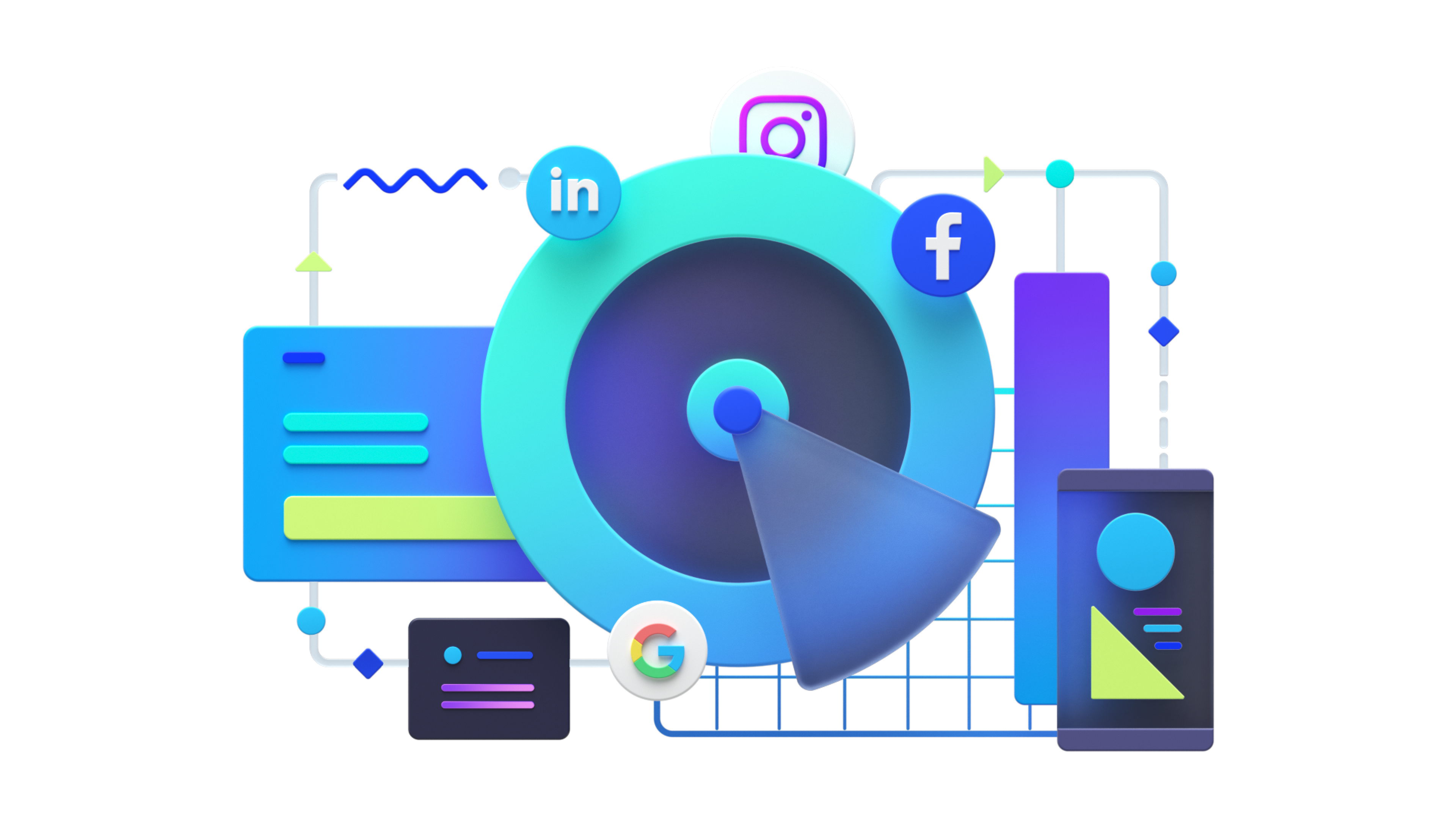 Colorful illustration showcasing Range's digital marketing services
