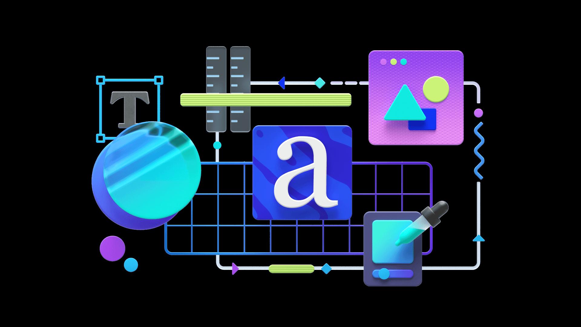 Colorful illustration showcasing Range's design services