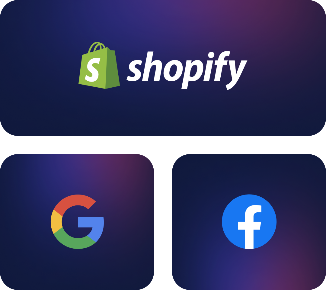 Images depicting the logos of the integrated platforms: Shopify, Google & Facebook
