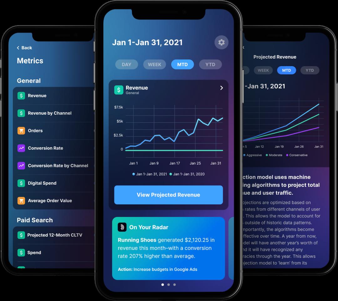 Three screens of the Radar App displaying in-app UI