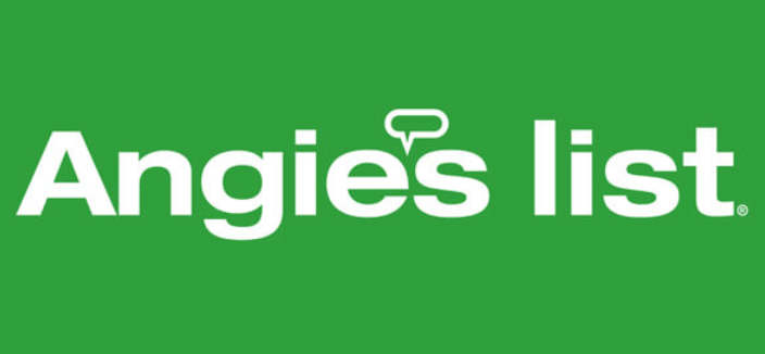green background with white lettering that says Angie's List