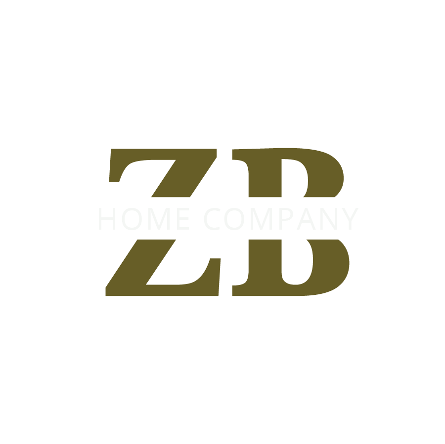 """ZB Home Company Alternative Logo. No background. Letters """"ZB"""" in the middle in mustard green color with """"Home Company"""" running diagonal through letters in the middle."""