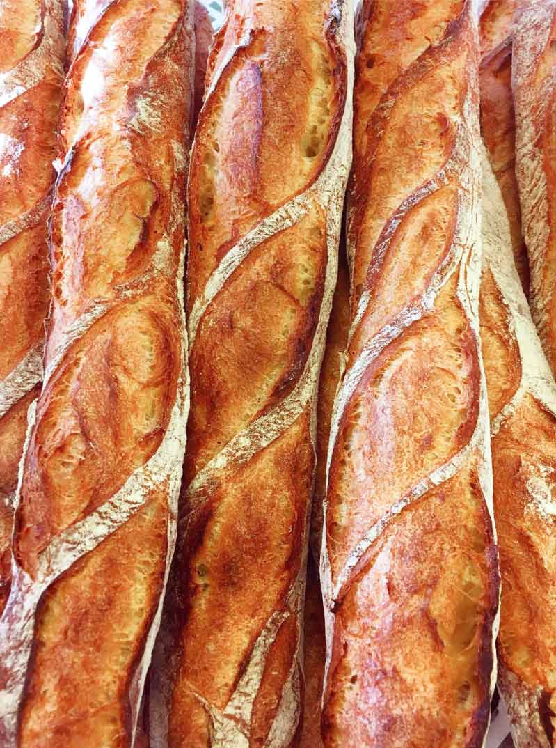 Traditional French Baguettes in Vincent Cafe, Warsaw