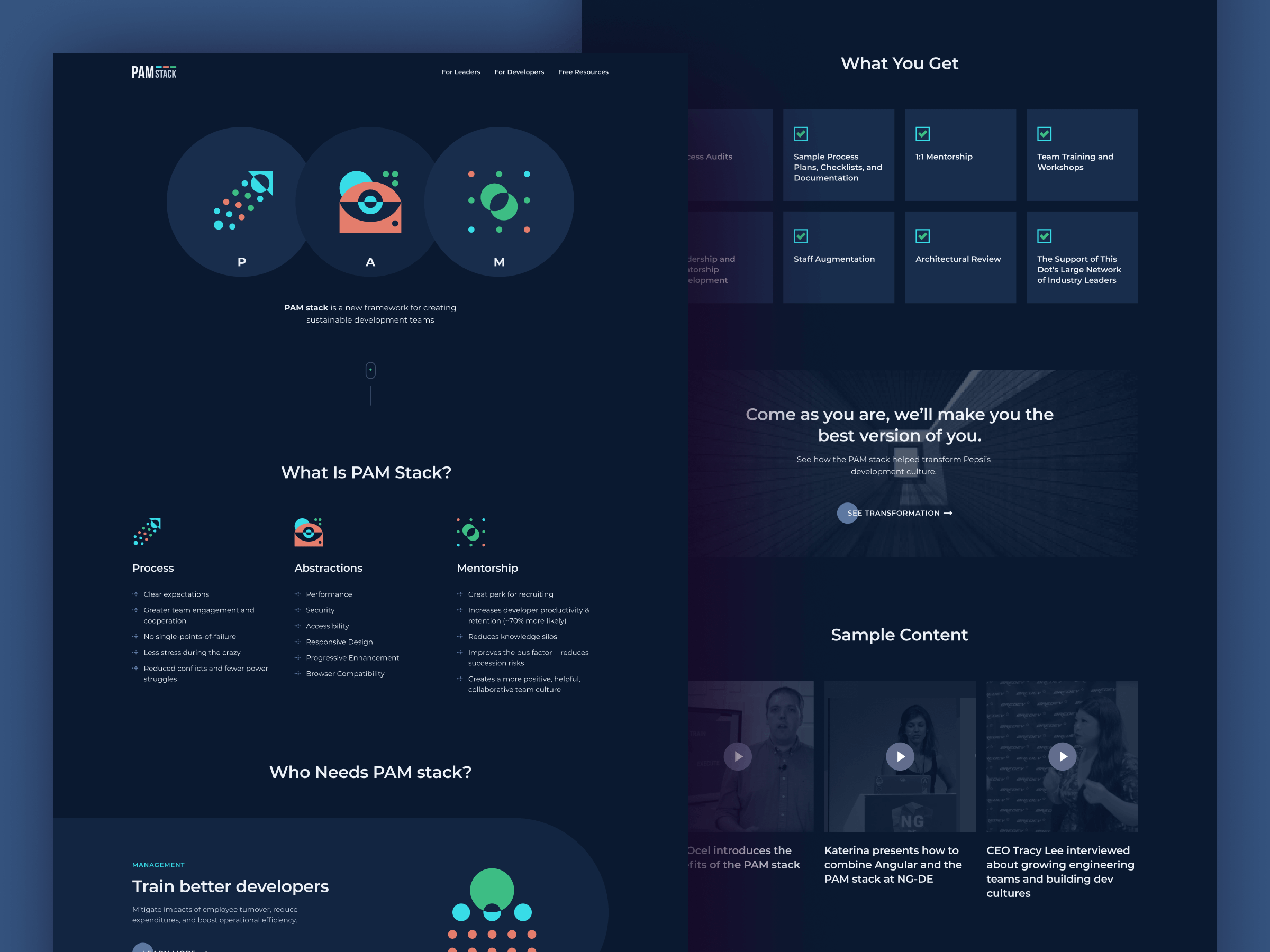 PAM stack marketing website