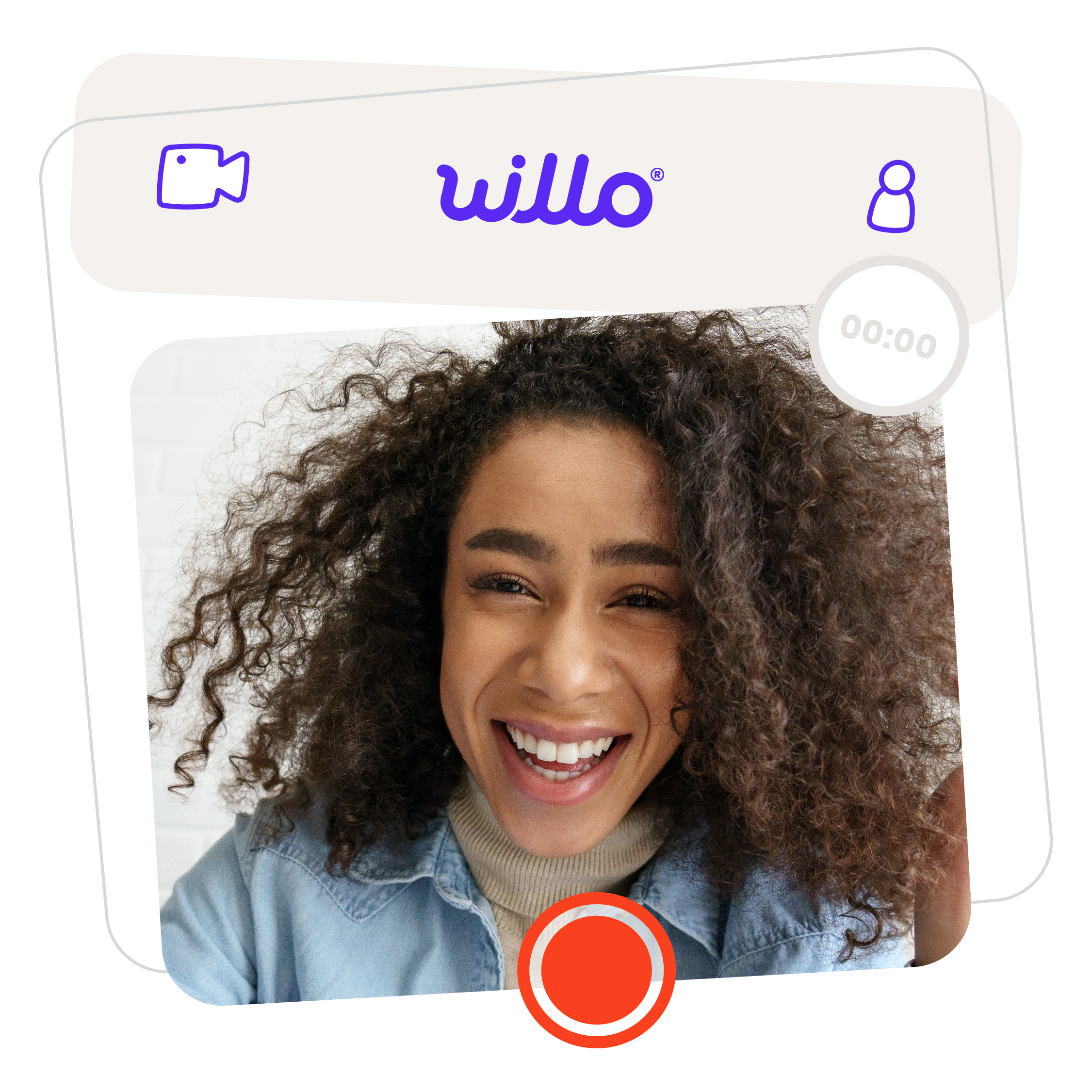 Smiling Girl on Willo Video Interview with curly hair