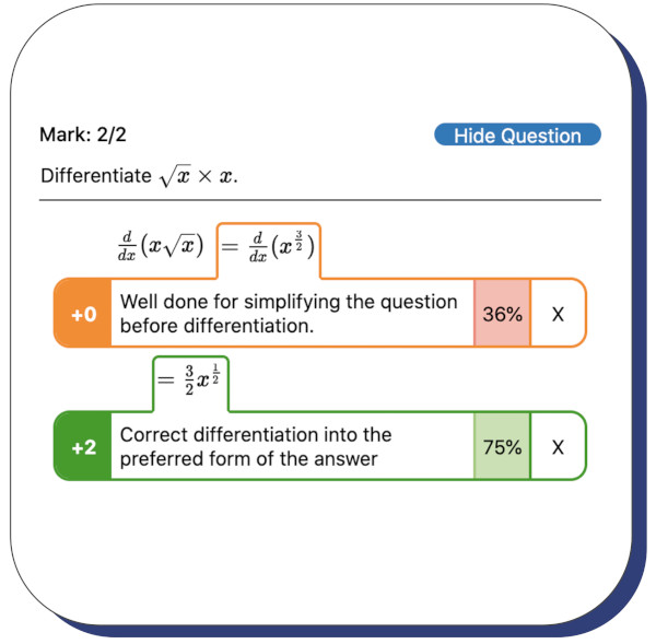 A student method being taken into account when being given feedback.