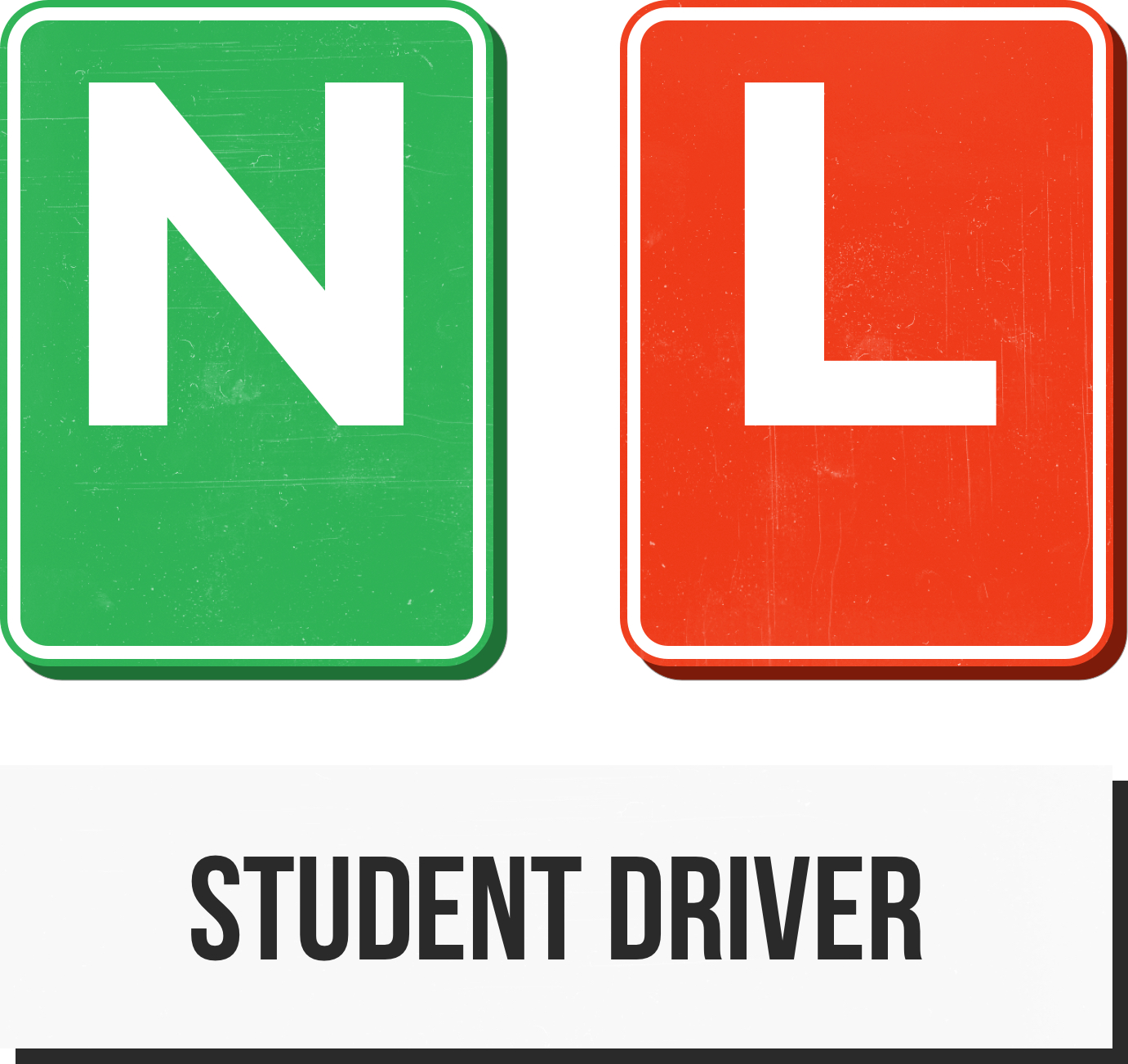 N, L and student driver illustrations