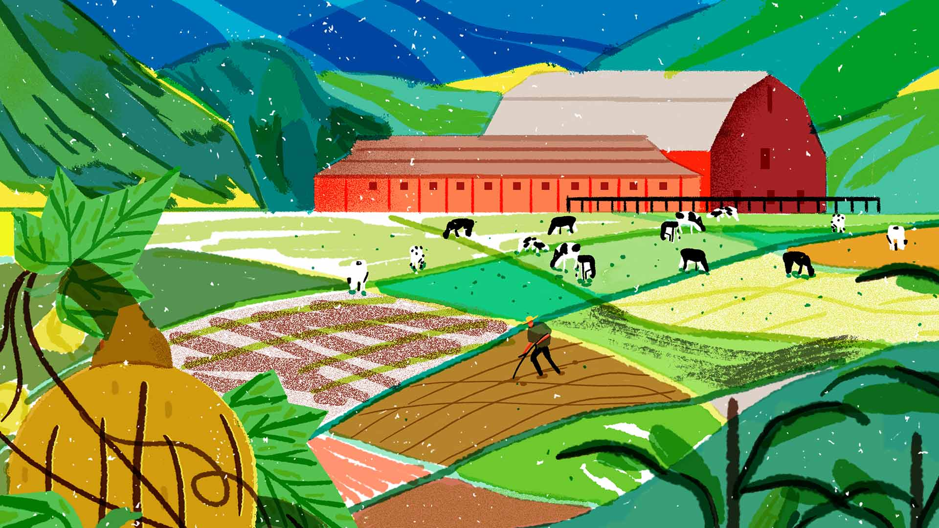 A colorful illustration of a farmer working in a field that's sitting at the base of mountains.